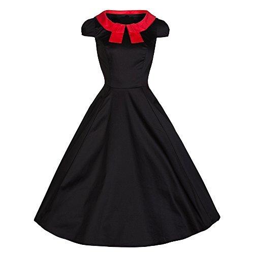 Pretty kitty-noir/rouge-découpe swing robe