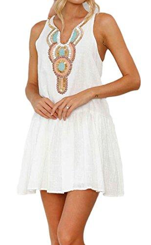 Domple Femmes Manches Plissées Et Évasées Boutons Occasionnels V-cou Mini-robe À Fleurs Blanc
