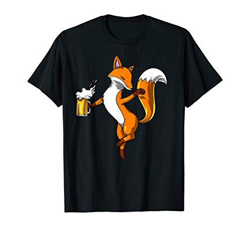 Cute Fox Beer Drinking Party Funny Women Men T-Shirt