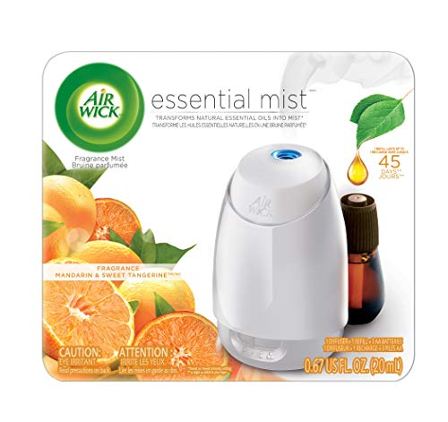 Air Wick Essential Oils Diffuser Mist Kit (Vaporizer for essential oil + 1 Refill), Mandarin & Sweet Tangerine, Air Freshener