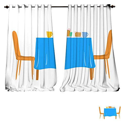 DESPKON-HOME Waterproof Window Curtain Festive Table with Cake and Chairs Vector Illustration Isolated on White Background Tie Up Window Drapes Living Room -W96 x L84/Pair