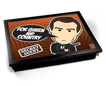 Kico Secret Agent James Bond Cartoon Cushion Lap Tray