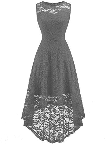 FAIRY COUPLE Women's Vintage Floral Lace Hi-Lo Sleeveless Cocktail Formal Swing Dress M Grey