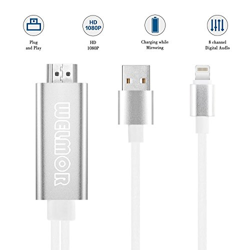 Welmor HDMI Adapter Cable, 6.6ft High Speed HDMI Digital AV Adapter 1080P HDTV Cord Compatible with iPhone X/8/7/6/plus iPad iPod iPhone to HDMI Cable,Plug and Play