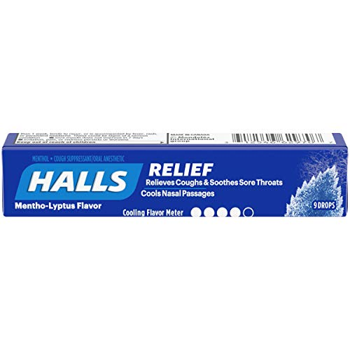 Halls Mentho-Lyptus Cough Drops - with Menthol - 180 Drops (20 sticks of 9 drops)