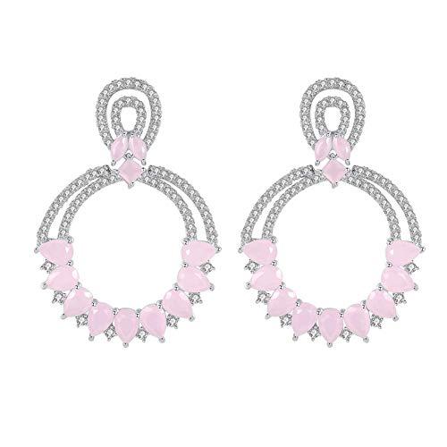 - Women's Full Cubic Zirconia Party Art Deco Dangle Earrings Large Round Crystal Earring Green/Pink-Tone.