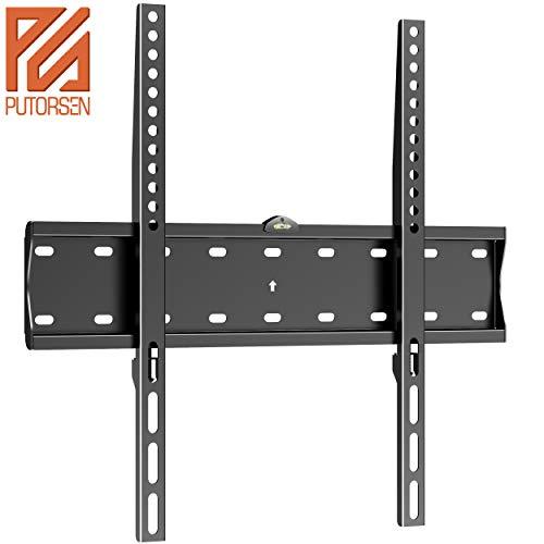 PUTORSEN® Fixed TV Wall Bracket, Ultra Slim TV Wall Mount for 32-55 inch LED LCD Plasma Full HD 1080p 3D 4K Smart TV Max VESA 400x400, Capacity 40kg, Spirit level included