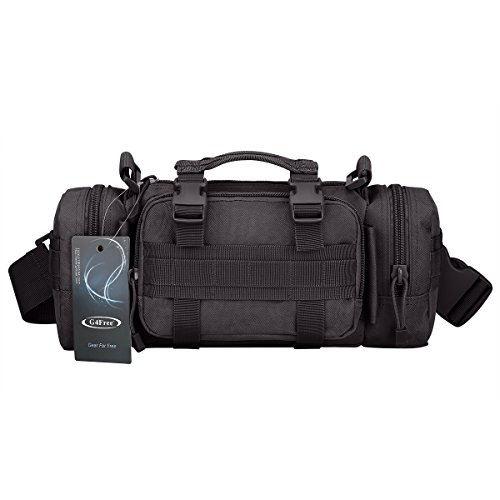 G4Free Deployment Bag Versatile Tactical Waist Pack,Hand Carry Camping Military Style Rucksack(Black)]()