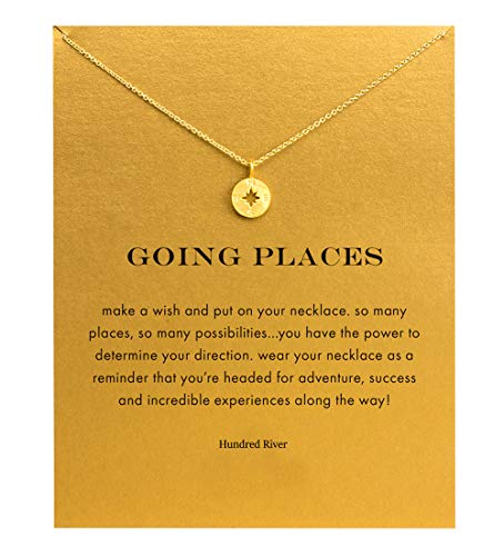 Hundred River Graduation Gift Compass Necklace with Message Card Gift Card(Compass) -