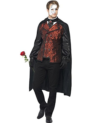 Smiffys Men's Dark Opera Masquerade Costume, Cape, Mock Shirt, Mask, Gloves and Faux Rose, Carnival of the Damned, Halloween, Size M, -
