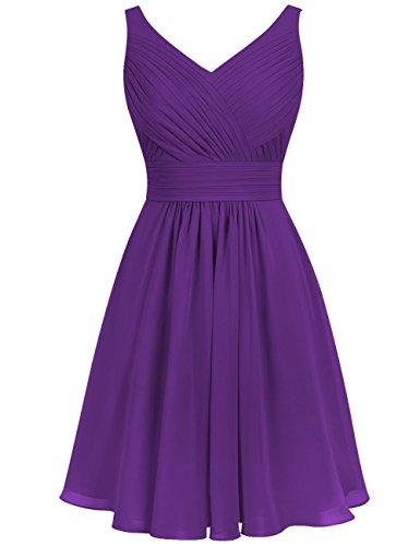Abendkleider Brautjungfernkleider Ausschnitt A Partykleider V Linie Kurz Hochzeit Kleider Rückenfrei Chiffon Violett Ballkleider Abiball Falten REwxI8qX