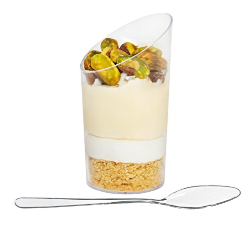 ImpiriLux Dessert Cups with Spoons | Pack of 50 Round Slanted 2.5 oz Tumblers | Chic Presentation of Desserts, Appetizers and Much More