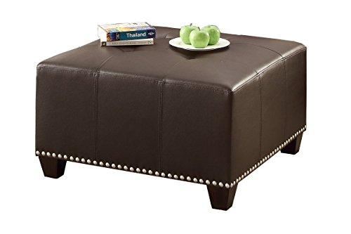 - Poundex Bobkona Cady Bonded Leather Ottoman, Espresso