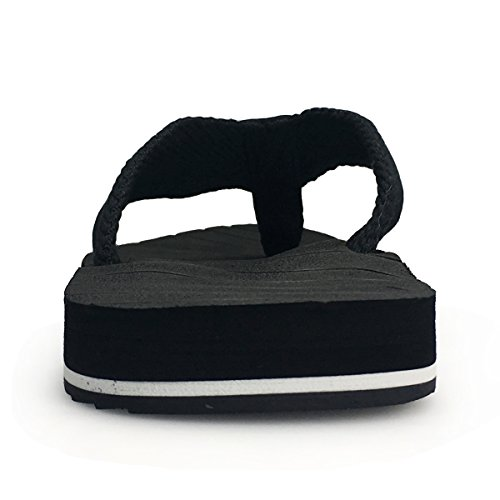 URBANFIND Men's Thongs Flip Flop Sandals Comfortable Athletic Arch Support Beach Shower Slippers Weave Black, 10 D(M) US by URBANFIND (Image #1)