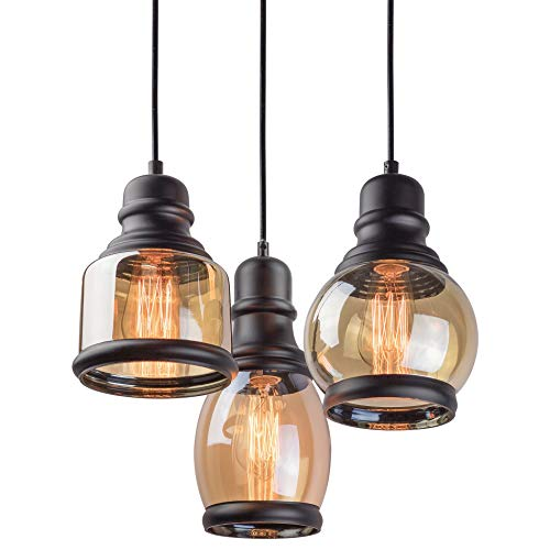 Kira Home Hudson 11.5 Vintage 3-Light Multi-Pendant Chandelier, Antique Jar Shades with Tinted Glass, Adjustable Corded Pendant, Matte Black Finish