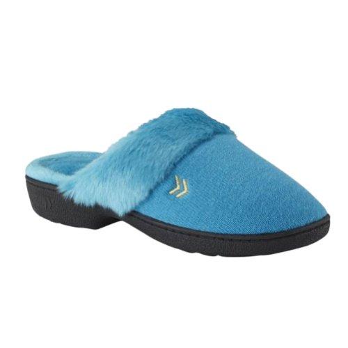 Pantofole Di Stoffa Blu Di Spugna Delle Donne Di Isotoner Scarpe Zoccoli Di Medie Dimensioni 7,5-8