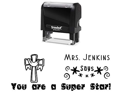 Classroom Teacher Rubber Stamp, Self-Inking Customized. You are a Super Star, with Stars, Swirls and a Church Cross Image. Variety of Designs, 5 Ink Colors, 3 Lines, All Wording can be Changed! ()