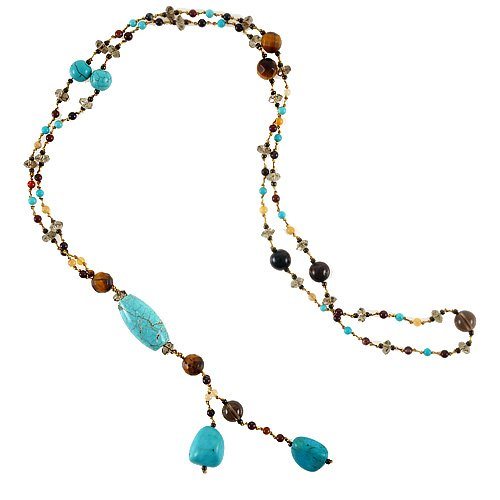 Chuvora Genuine Turquoise Gemstones and Crystal Beaded Y Drop Long Necklace, 26 inches (Multi Beaded Gemstone Necklace)