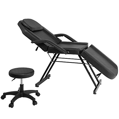 Adjustable Beauty Salon SPA Massage Bed Tattoo Chair with Stool Black Facial Bed Barber Equipment