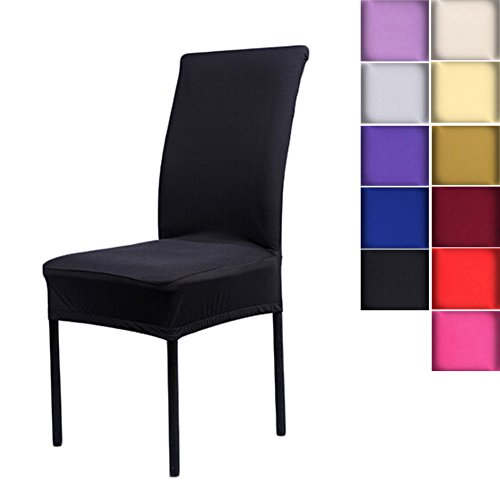 Solid Dining Slipcover Cotton Chair (SHZONS™Universal Stretch Spandex Removable Washable Short Dining Chair Cover Protector Seat Solid Slipcovers for Hotel,Dining Room,Ceremony,etc.(Black))