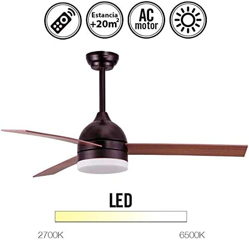 MIMAX Ventilador de Techo con luz Serie Tramuntana Color Madera ...