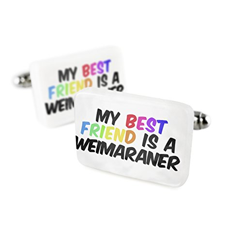 Cufflinks My best Friend a Weimaraner Dog from Germany Porcelain Ceramic NEONBLOND