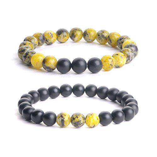 (iSTONE Jewelry 2pcs Natural Gemstone 8MM Yellow Turquoise+Matt Onyx Couple Distance Round Beads Stretch Bracelets )