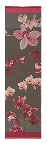 Pink Orchids Grey French Jacquard European Decorative Rich Colored Floral Tapestry Table Runner Bed End Scarf 19 x 71'' by Charlotte Home Furnishings Inc.