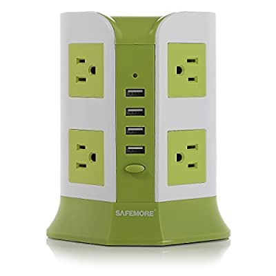 Smart 8-Outlet with 4-USB Output Surge Protection Power Strip , 930 Joules 4000W 110-250V Worldwide Voltage Surge Protector Power Socket , 4 USB Charger Power Adaper for iPhone 6 / 6 Plus / 5S / 5, iPad Air / Mini, Samsung Galaxy Note 4 / Note 3 / Note 2