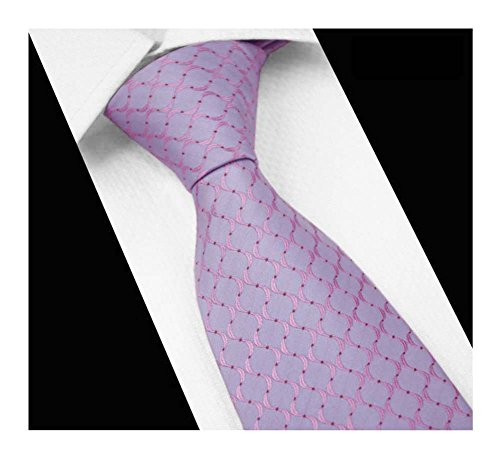 Men Light Blue Pink Tie Narrow Striped Jacquard Office Matching Necktie Dad Gift (Pink Brown Striped Tie)