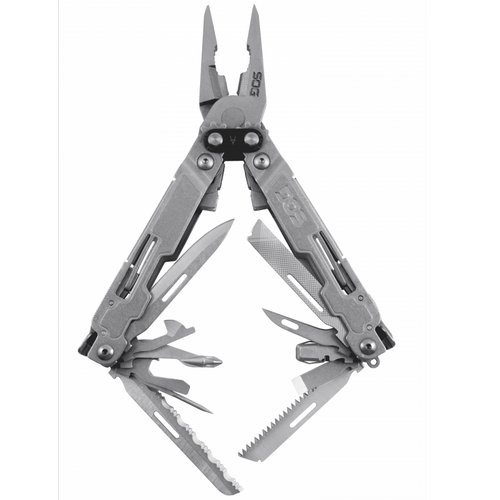 """SOG Multitool Pocket Tool – """"PowerAccess Deluxe"""" PA2001-CP Multi Tool Survival Kit w/ Compound Leverage and 21 Survival Tools + 12 Multitool Hex Bits"""