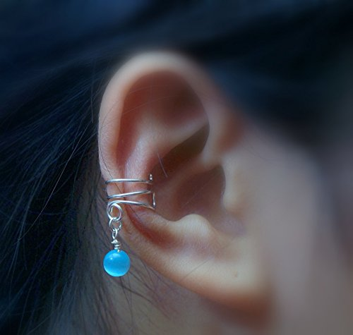 59)Ear Cuff ; Simple Turquoise Color Cat's Eye Bead Ear Cuff