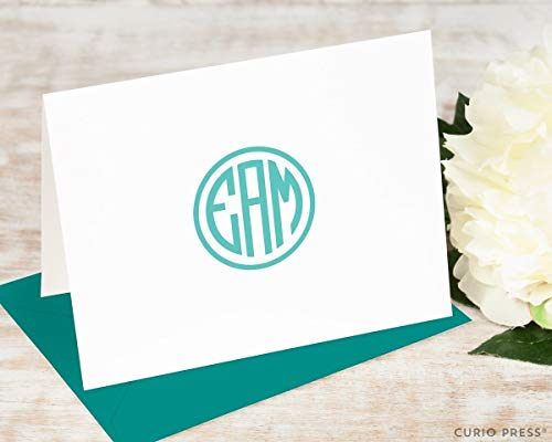 PREPPY MONOGRAM FOLDED - Personalized Stationery Set - Stationary Note Cards for Him or Her