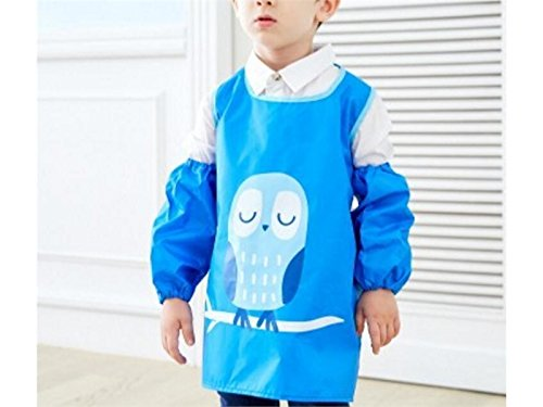 Gelaiken Perfect Cartoon Kid Waterproof Oil-Proof Animal Owl Printed Apron Girl Boy Two Arm Sleeves(Blue,Size:L) by Gelaiken