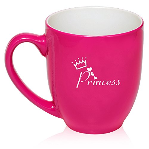 (16 oz Hot Pink Large Bistro Mug Ceramic Coffee Tea Glass Cup Princess with Crown)