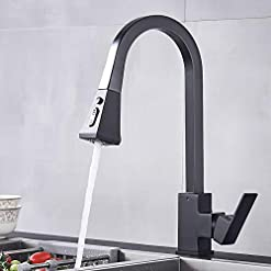 Kitchen Black Kitchen Faucet with Pull Out Sprayer Single Handle Single Hole High Arc Pull Out Spray Head Kitchen Sink Faucets… modern sink faucets
