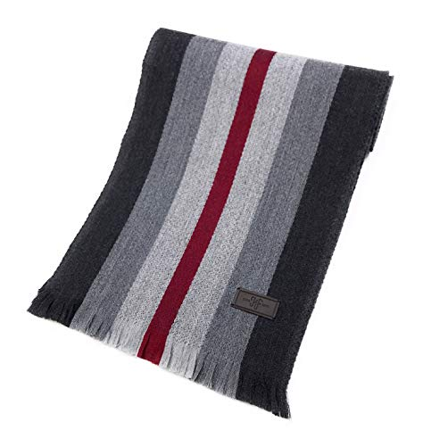 Men's Wool Scarf - Grey with Burgundy Rugby Stripe, 100% Australian Merino Wool, 72 inches x 10 inches, by Hickey Freeman