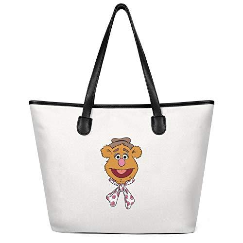 14 Inchs X 6 Inchs X 12.5 Inchs Sesame-muppet-head-face-Fozzie-Bear-Cartoon-street-Milky Zipper Top Cotton Canvas Gym Tote Shoulder Bags for Men Women Simple Shopping