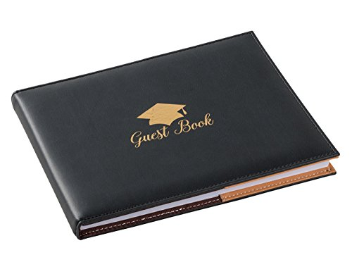 Juvale Graduation Guestbook - Guest Sign-in Book, Guest Registry, Graduation Party Supplies, Black, 8.3 x 6.5 x 0.3 -