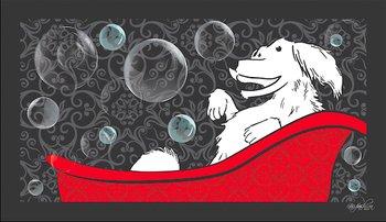 Dog Fashion Spa Happy Dog in a Tub Design No Slip Bathing Mat for (Pet Bathing Mat)