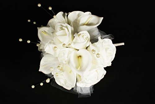 (White 15 Head Rose Calla Lily Flower Bouquet Real Touch Wedding Bridal Pearl Decorated)