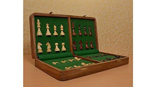 Reise Schachspiel aus Holz chessbazaar Indien – Schachbuch mit Fächern 35 cm