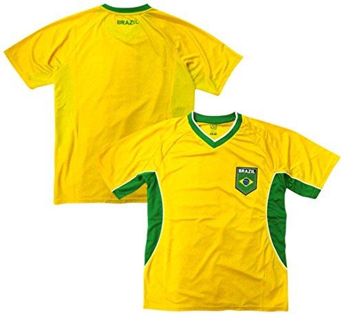 Brazil Soccer Yellow Angled Panel 2014 Training Jersey Large