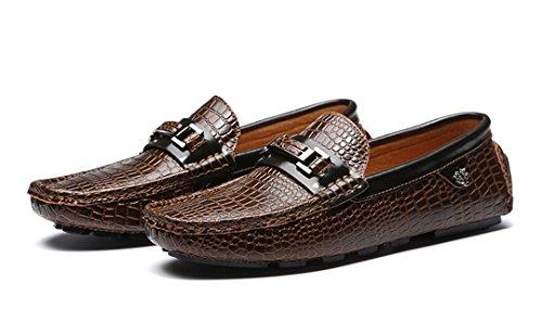Tda Heren Nieuwe Mode Slip Op Krokodillenleer Rijden Zakelijke Cent Loafers Bootschoenen Bruin