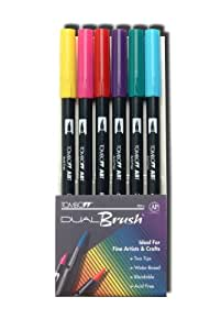 Tombow Dual Brush Pen Set, Bright Primary Colors, 6 Piece Set (56142)