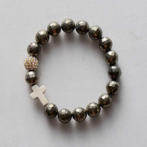 FBSL Bracelet Stretchy Bracelet 10Mm Natural Stones Pave Ball Cross Elastic Bracelet Beaded Boho Chic Yoga Bracelet Bead Jewelry Dropship