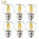 G50/G16.5 Light Bulb, Dimmable g16.5 led Bulb 40W LED Edison Bulb 2700K 4W e26 led Globe Bulb for Ceiling Fan,Chandelier,Vanity Light Bulb AC120V 400lm 6Pack