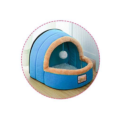 crazy-shop Pet Dog Cat Bed Foldable Puppy 5 Colors House with Toy Ball Warm Soft Pet Cushion Dog Cat Castle,Blue,L