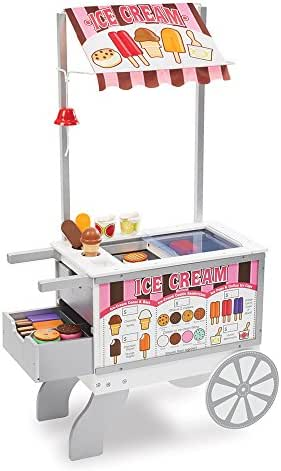 Melissa & Doug Wooden Snacks & Sweets Food Cart (Play Sets & Kitchens, Reversible Awning, 40+ Play Food Pieces, 49