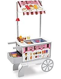 Wooden Snacks and Sweets Food Cart - 40+ Play Food pcs, Reversible Awning